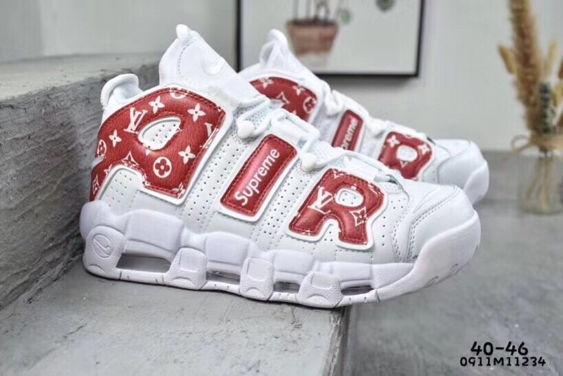 orecchio innervosirsi Ministro  2019 New Nike Air More Uptempo X LV Supreme Red&White Shoes 1:1 Quality