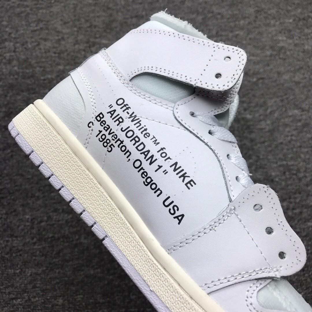 Off White for Nike Air Jordan 1 White Leather Upper Vamp Shoes