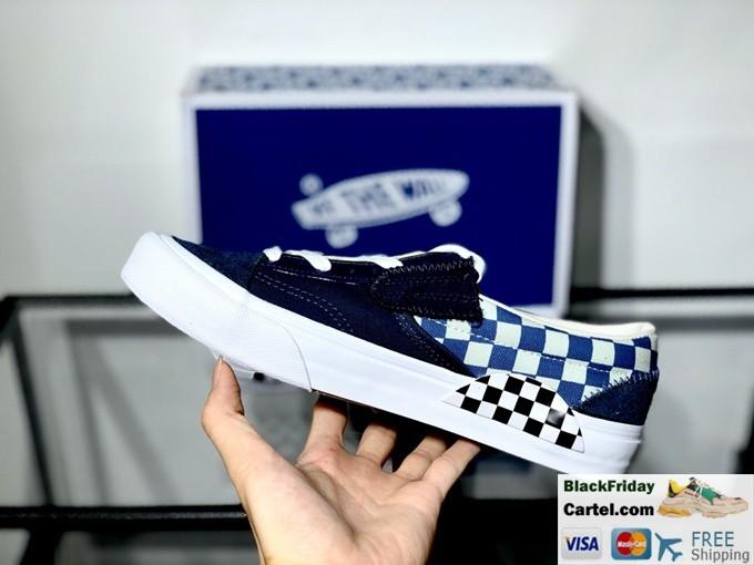 New Vans Slip On Shoes Cap LX White & Blue Sneakers