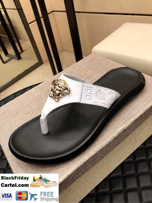 High Quality Versace 2019 Classic Explosion Leather Men's White Sandals