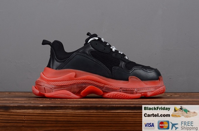 2019ss Balenciaga Triple S Vintage Daddy Shoes Red & Black