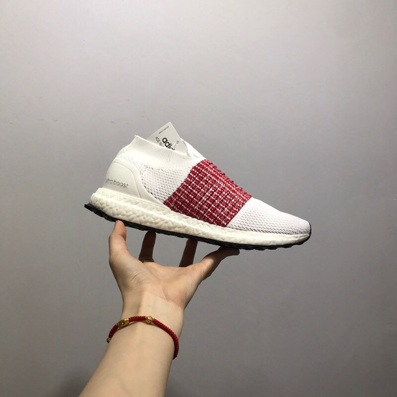Adidas Ultra Boost Laceless Running Shoes White & Pink