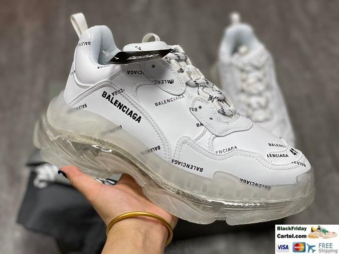 Balenciaga Allover Logo Triple S White Sneakers