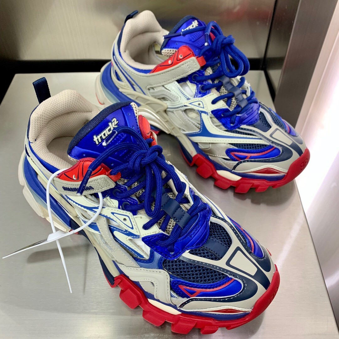 Balenciaga Track.2 Trainers Shoes Blue & Red & Grey