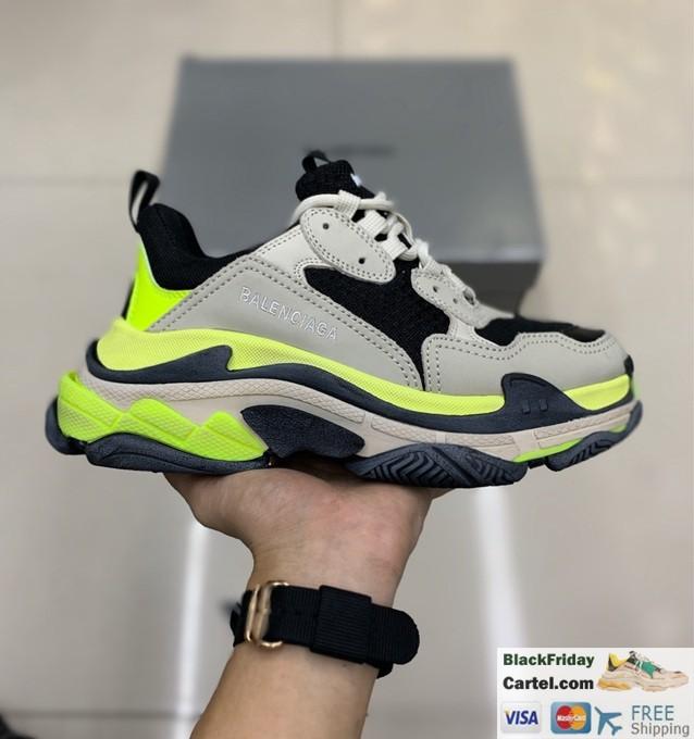 Balenciaga Triple S Vintage TPU Sports Shoes Fluorescent Green