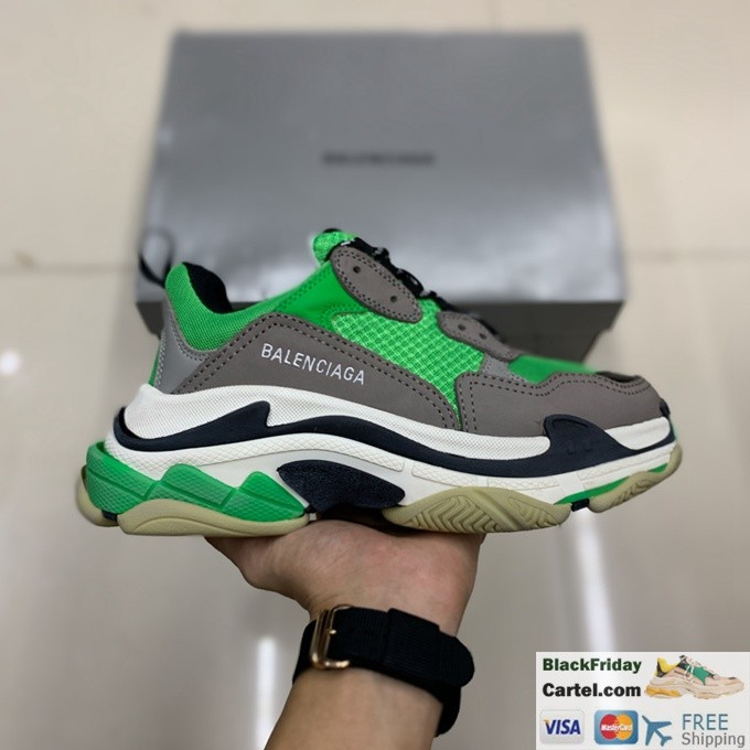Balenciaga Triple S Vintage TPU Sports Shoes Green
