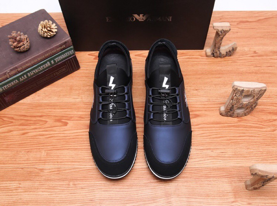 High Quality Armani 2019 New Explosion Men's Dark Blue Casual Shoes
