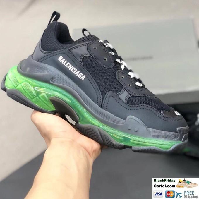 High Quality Balenciaga Triple S Sneakers Black & Green