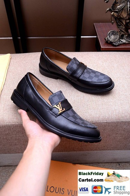 High Quality Louis Vuitton 2019 Men's Black Leather Shoes