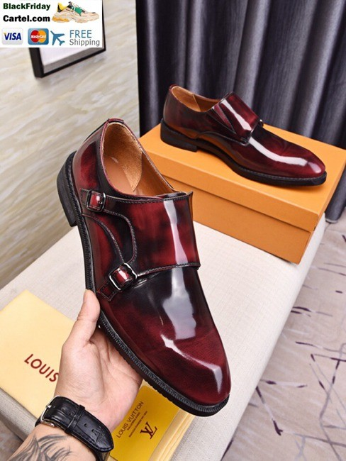 High Quality Louis Vuitton 2019 Men's Wine Red Business Shoes