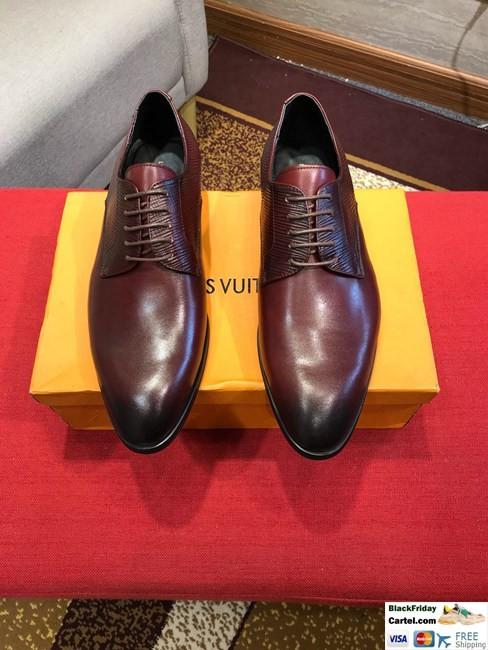 High Quality Louis Vuitton 2019 Wine Red  Men's Dress Shoes