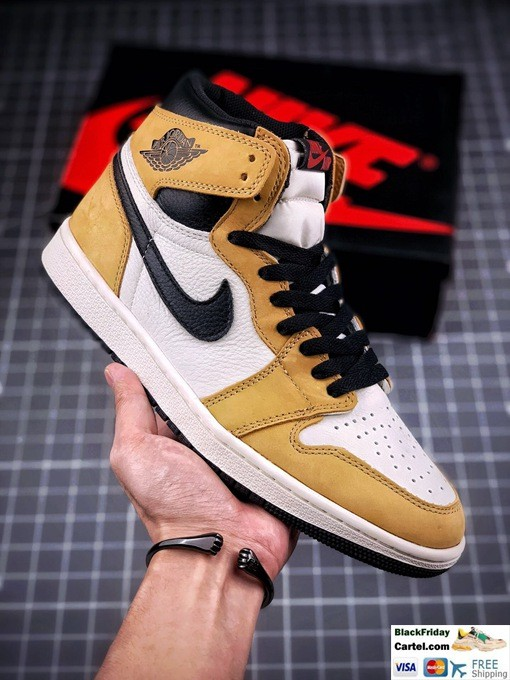 High Quality Nike Air Jordan 1 Retro High Sneakers Yellow & White