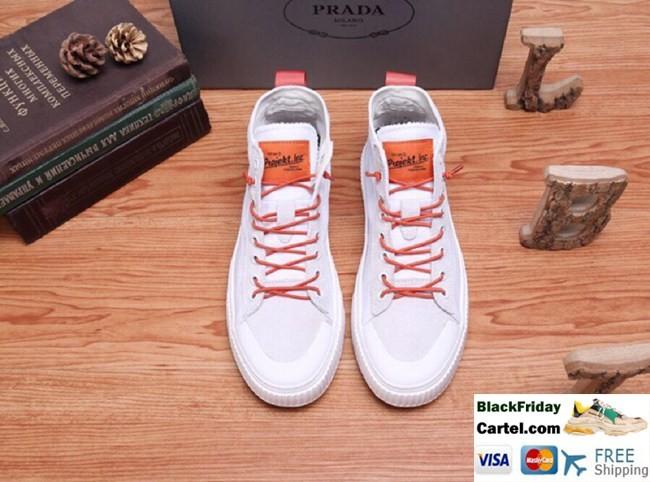High Quality Prada 2019 Summer Blockbuster Men's White Canvas Shoes