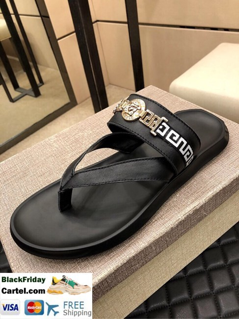 High Quality Versace 2019 Classic Explosion Leather Men's Black Sandals