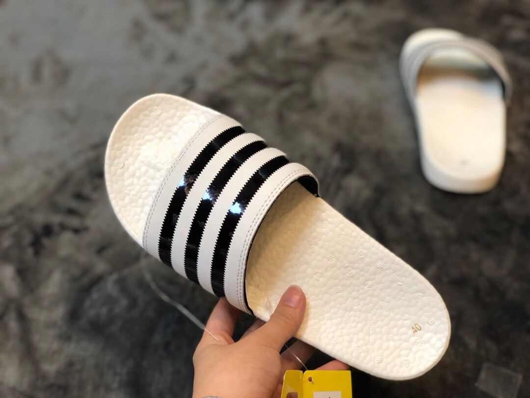 Adidas Boost Slippers With Black&White Stripe