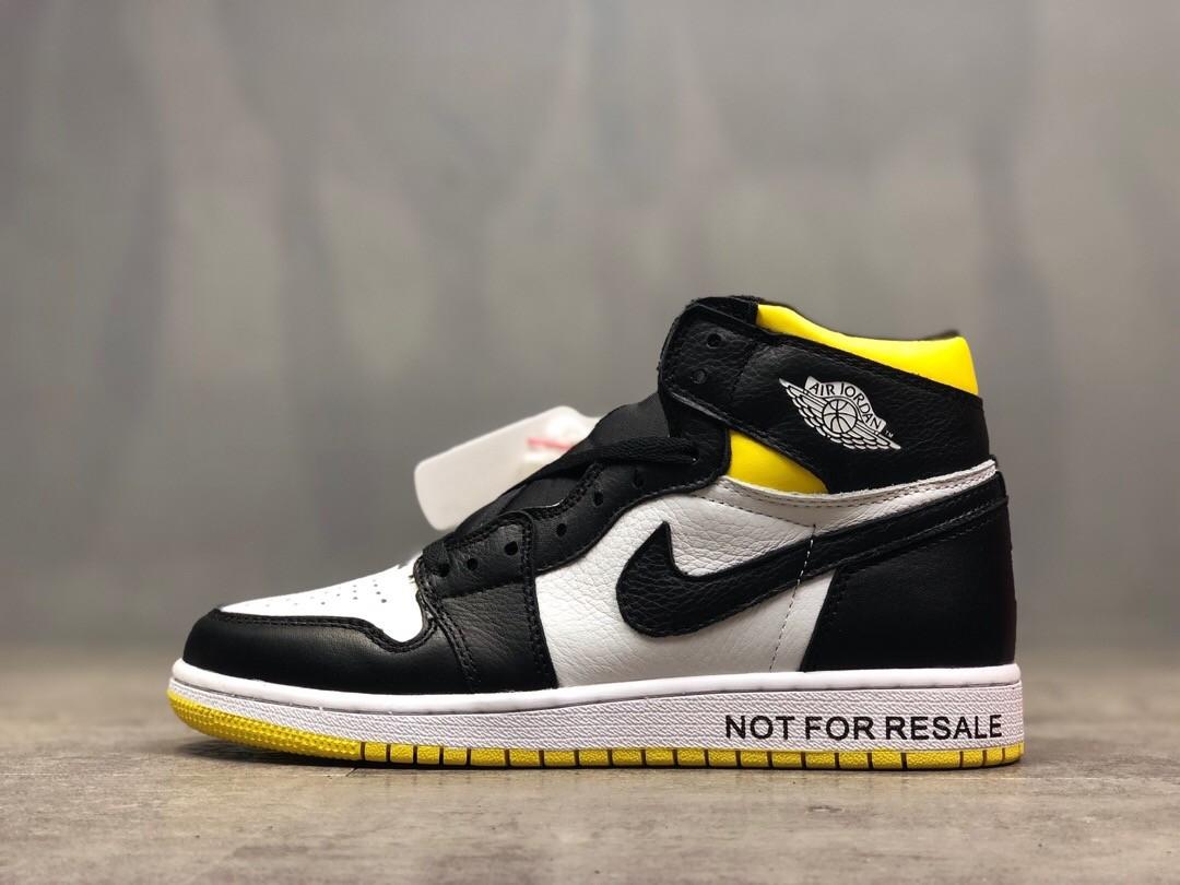 Air Jordan 1 High AJ Black&White&Yellow Running Shoes