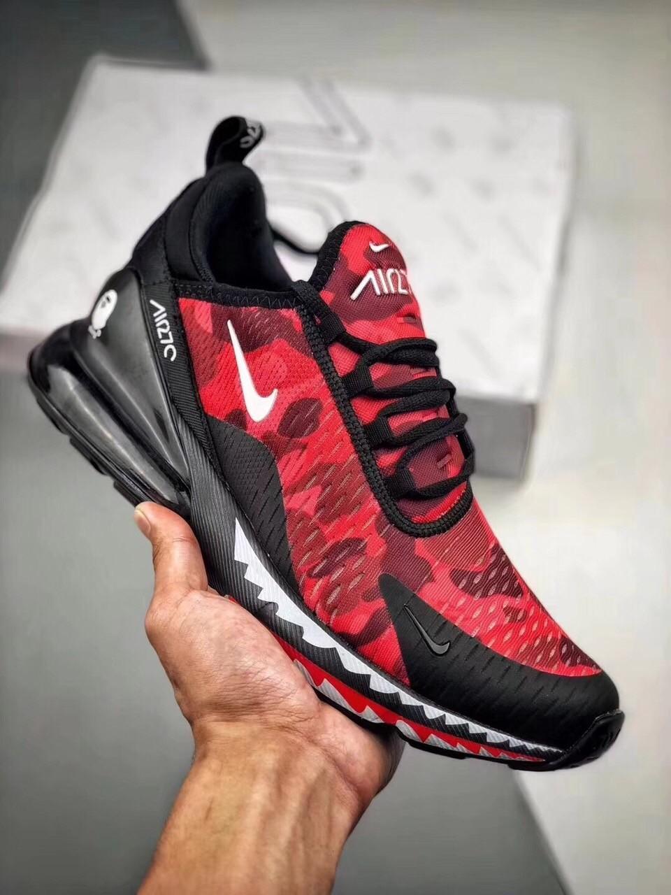 de46a85a8a Replica A Bathing APE X Nike Air Max270 Red Military Jogging Shoes