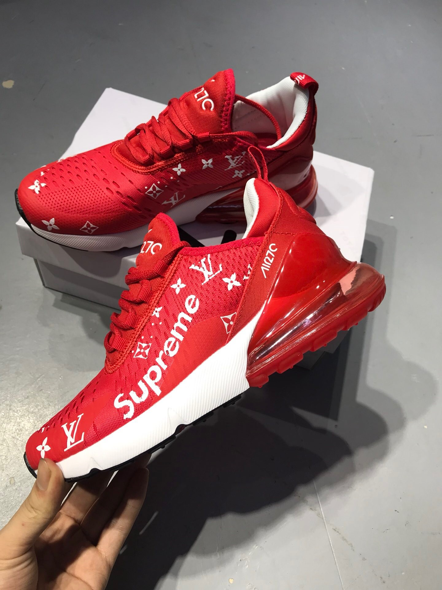 competitive price 61cc8 85ab8 LV X Nike Air Max270 Red Jogging Shoes