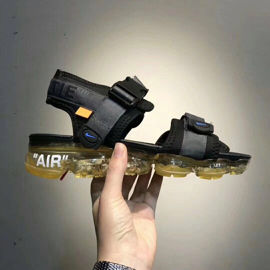 new concept 4c704 61cc7 Replica Off White X Nike Air VaporMax Black Sandals With Yellow Bottom