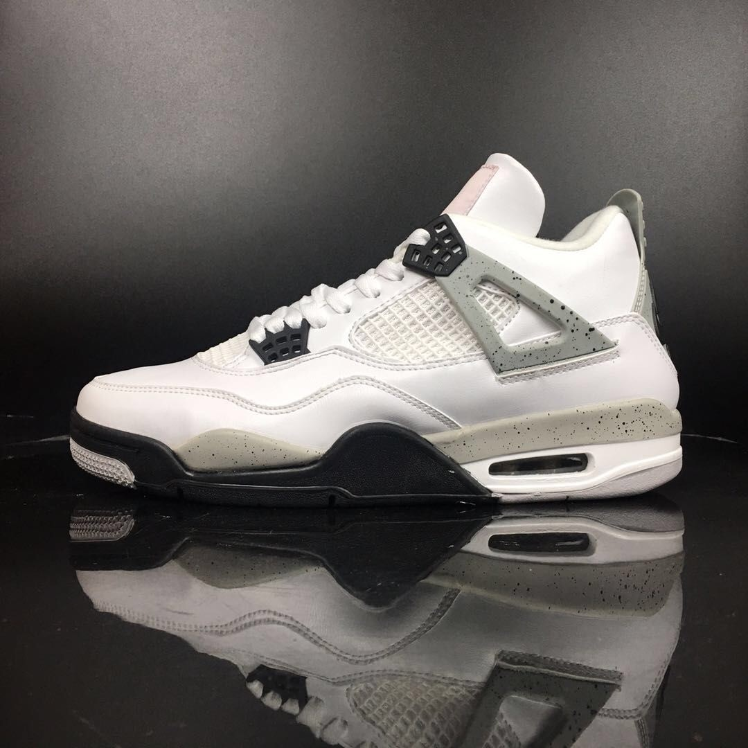 Air Jordan 4 Royalty Black King White Leather High Cut Shoes 1:1 Quality
