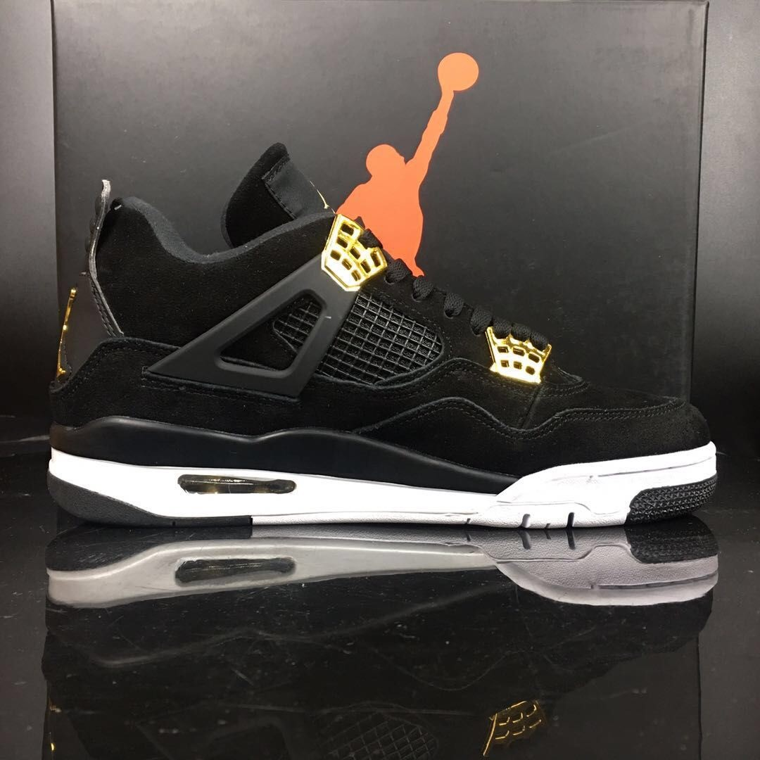 separation shoes ac249 e6915 Air Jordan 4 Royalty Black King Black Swede Shoes High Cut 1:1 Quality For  Sale