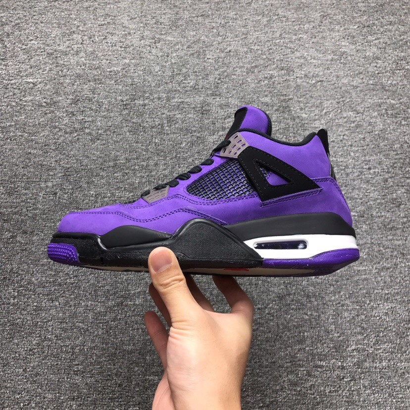 newest b877a 7cf41 Air Jordan 4 X Travis Scott Cactus Purple Swede Shoes High Cut 1:1 Quality
