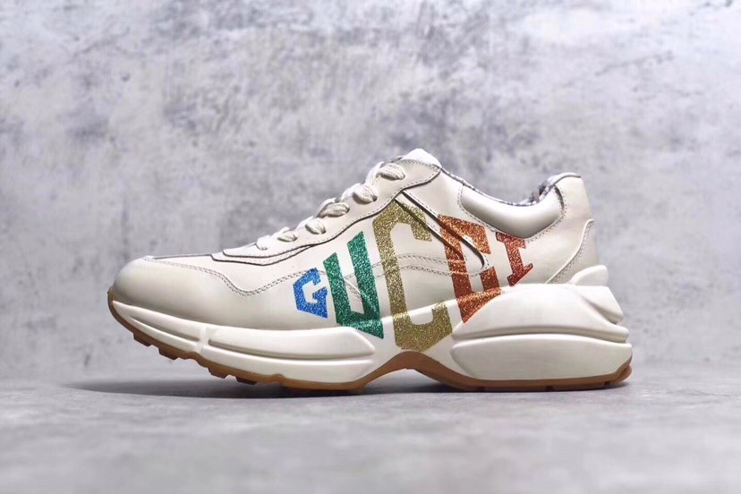 GUCCI Daddy White Shoes With Colorful Logo