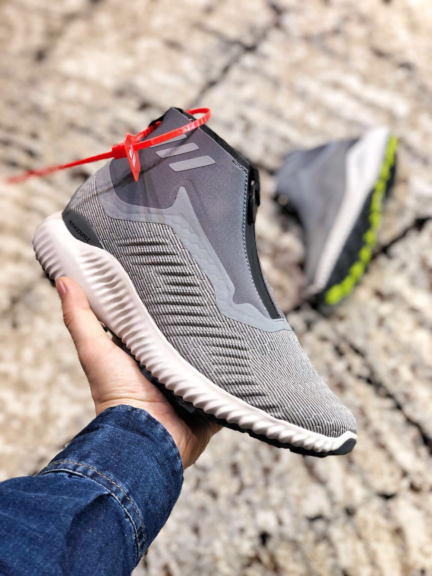 Adidas Alpha Bounce Zip Light Grey Shoes