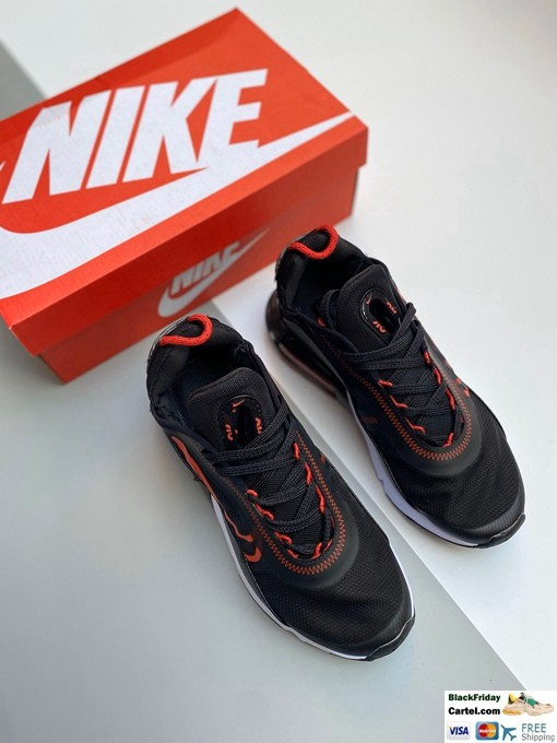NIKE Air Max 2090 Leather Woven Black & Red Sneakers