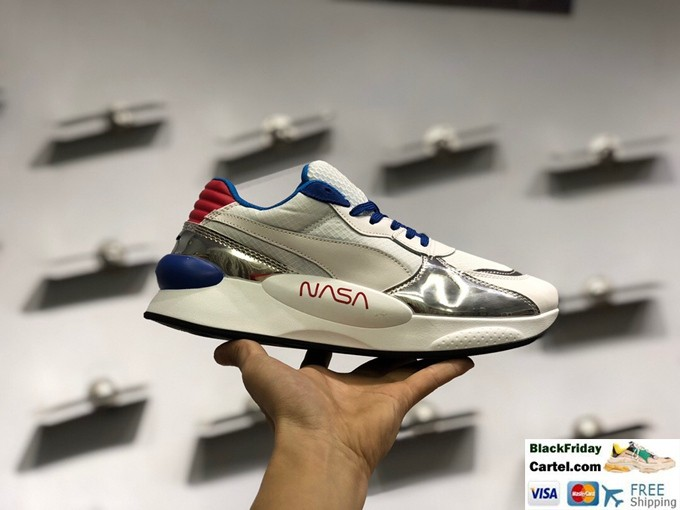 Puma RS 9.8 Space Trainers In White & Silver & Blue