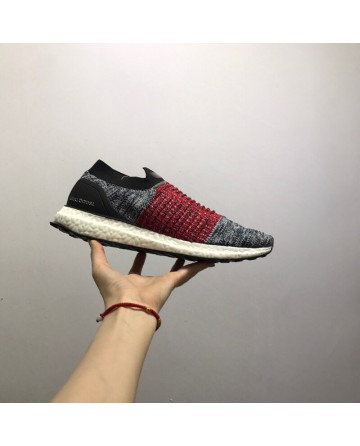 Adidas Ultra Boost Laceless Running Shoes Grey & Red