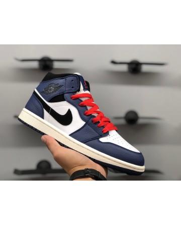 Air Jordan 1 Mid AJ Blue & White & Red Running Shoes