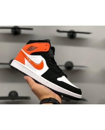 Air Jordan 1 Mid AJ Orange & White & Black Running Shoes