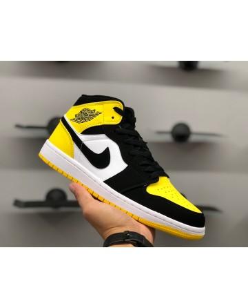 Air Jordan 1 Mid AJ Yellow & White & Black Running Shoes