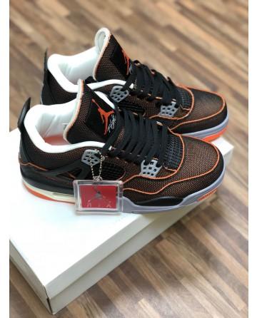 Air Jordan 4 Low Basketball Shoes Retro Black-Orange Upper