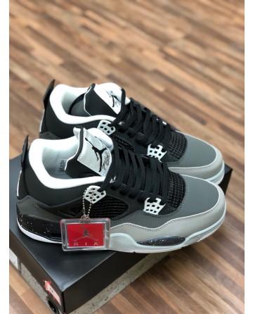 Air Jordan 4 Running Shoes Low Black/Gray Upper
