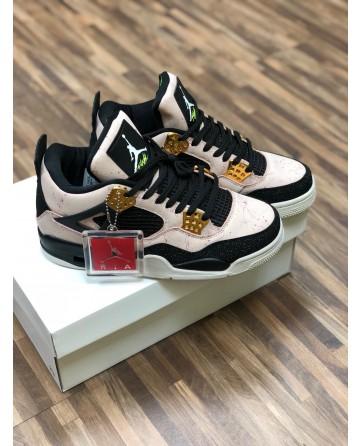 Air Jordan AJ 4 Low AJ Basketball Shoes Pink Upper Black lining