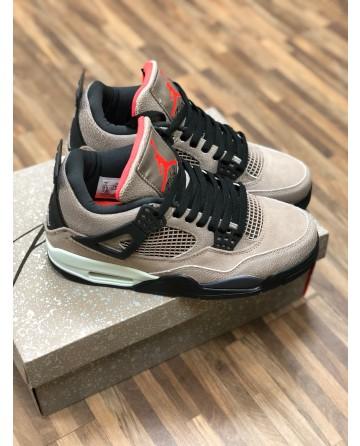 Air Jordan AJ 4 Men Basketball Shoes with Gray Wrinkle Upper