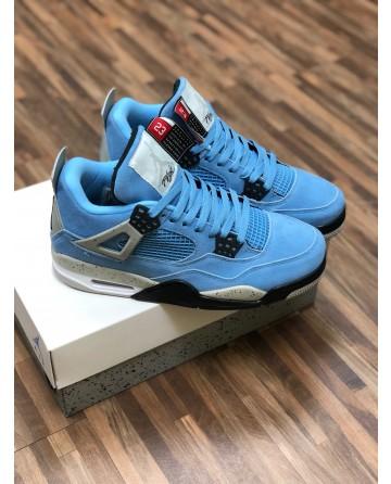 Air Jordan AJ 4 Men's Basketball Shoes with Gray&Blue Upper