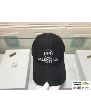 Balenciaga Black BB Mode Logo Cotton Baseball Cap