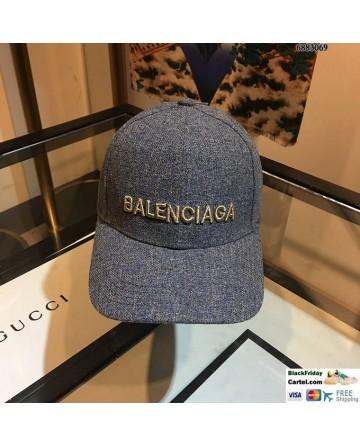 Balenciaga Logo Grey Baseball Cap Embroidered Hat