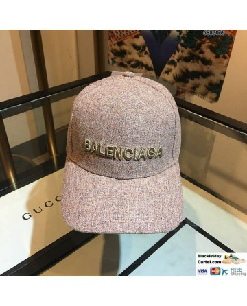 Balenciaga Logo Pink Baseball Cap Embroidered Hat