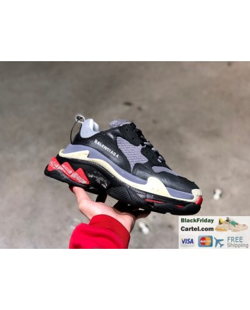 Balenciaga Triple-s Vintage Casual Running Shoes Black & Grey