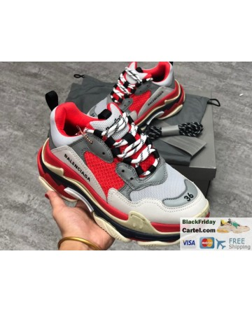 Balenciaga Triple-s Vintage Red Casual Running Shoes
