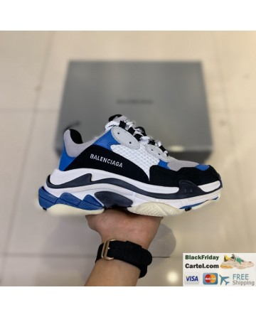 Balenciaga Triple S Vintage TPU Men's Blue Running Shoes