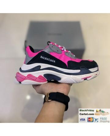 Balenciaga Triple S Vintage TPU Sports Shoes Pink & Black