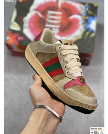Beige Leather Low Top Screener GG Sneakers