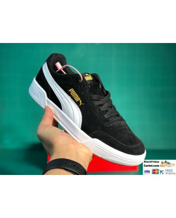 Black Puma Caracal Sneakers With Gold Logo - Men's Shoes