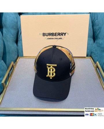 Burberry Black Striped Baseball Hat With Gold Embroidered Logo
