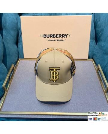 Burberry Khaki Striped Baseball Hat For Sale